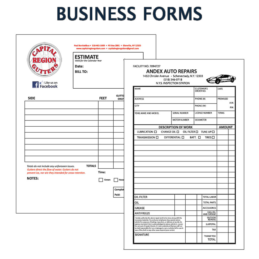 Custom designed business forms