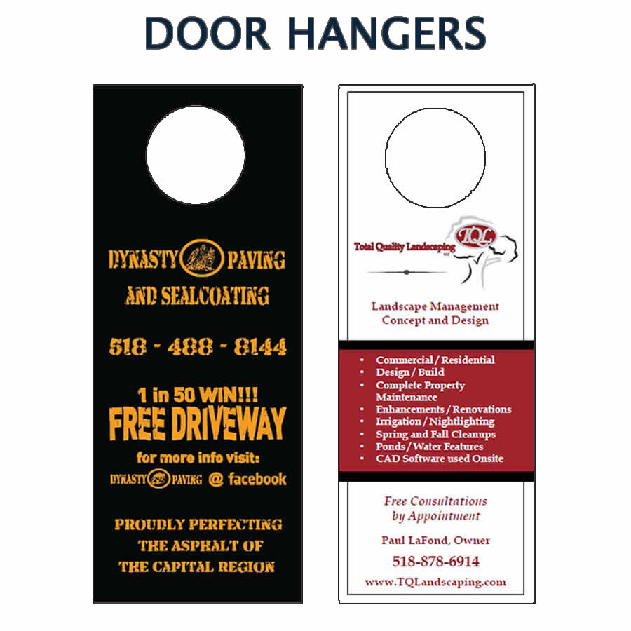 Custom designed door hangers