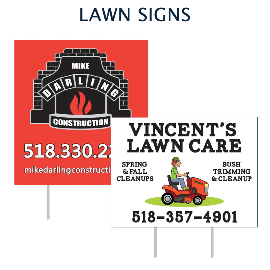 Custom designed lawn signs
