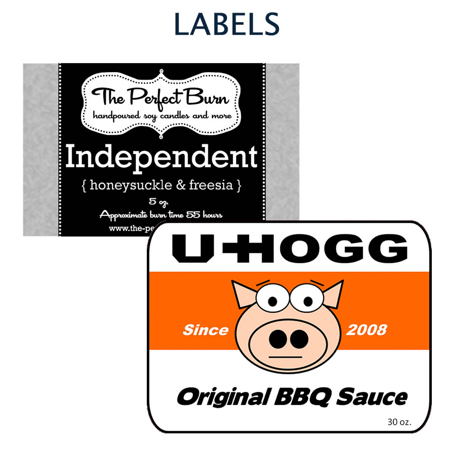 Custom designed labels and packaging