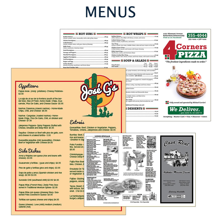 Custom designed menus