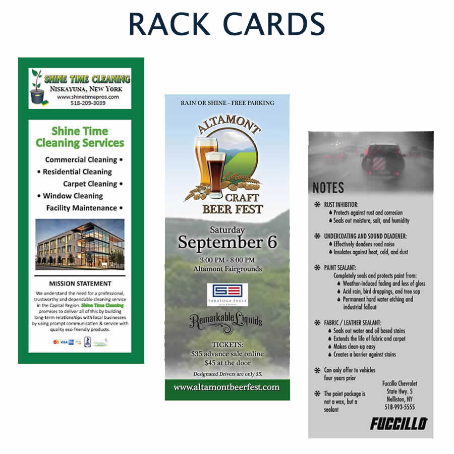 Custom designed rack cards
