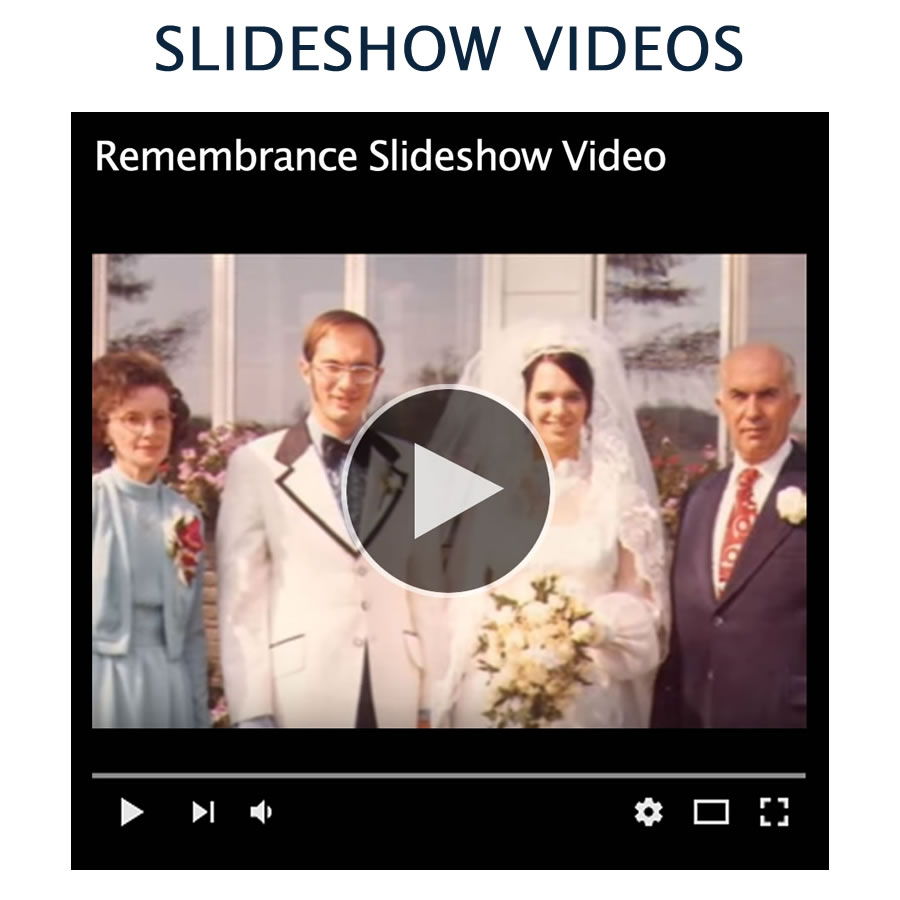 Custom designed slideshow videos